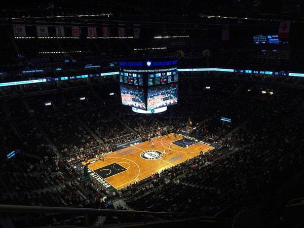 Basketbalwedstrijd in New York