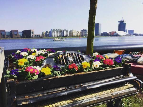 Terrassen aan het water in Amsterdam