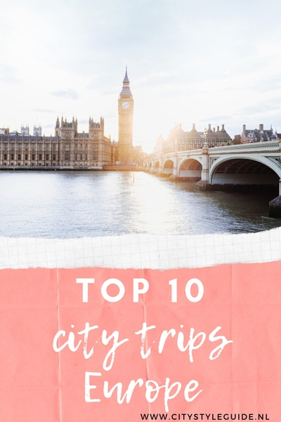 Top 10 city trips Europe Pin
